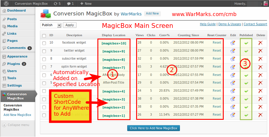 MagicBox Plugin Main Screen , showing all added MagicBoxes.